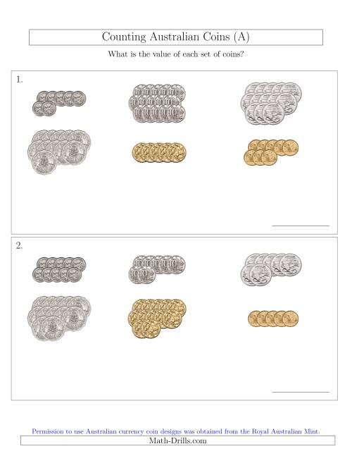 The Counting Australian Coins Sorted Version (All) Math Worksheet