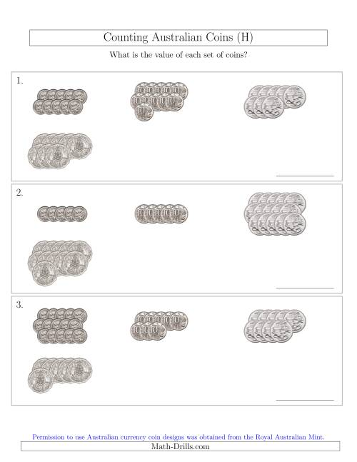 The Counting Australian Coins (No Dollar Coins) Sorted Version (H) Math Worksheet