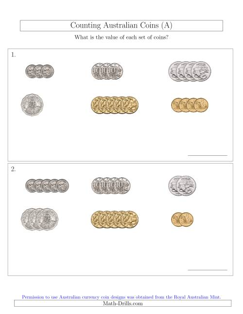 The Counting Small Collections of Australian Coins Sorted Version (A) Math Worksheet