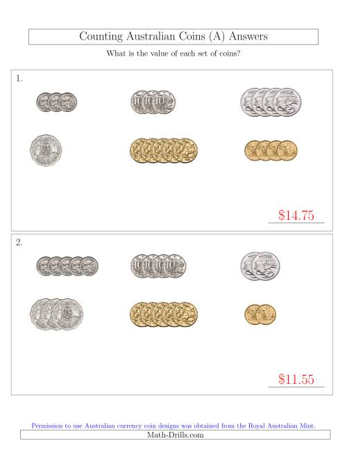 The Counting Small Collections of Australian Coins Sorted Version (A) Math Worksheet Page 2