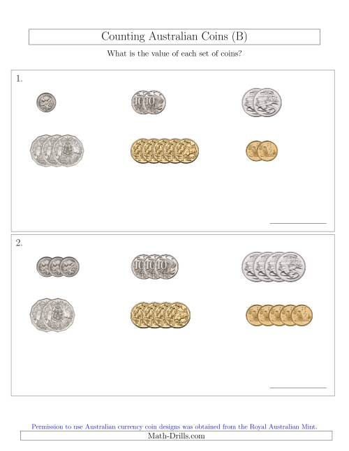 The Counting Small Collections of Australian Coins Sorted Version (B) Math Worksheet