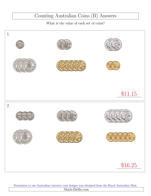 The Counting Small Collections of Australian Coins Sorted Version (B) Math Worksheet Page 2