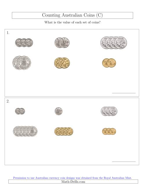 The Counting Small Collections of Australian Coins Sorted Version (C) Math Worksheet