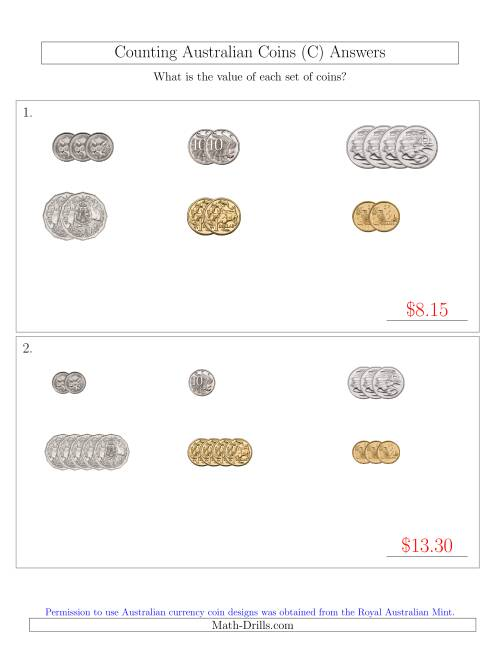The Counting Small Collections of Australian Coins Sorted Version (C) Math Worksheet Page 2