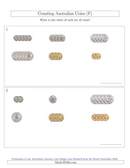 The Counting Small Collections of Australian Coins Sorted Version (F) Math Worksheet