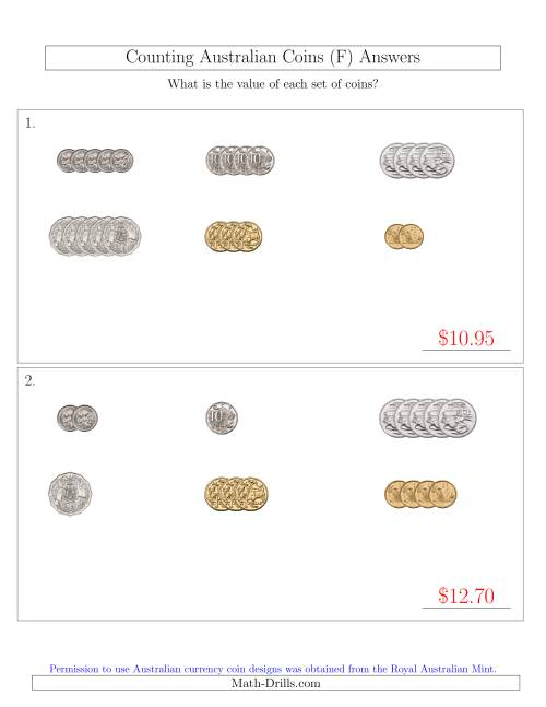 The Counting Small Collections of Australian Coins Sorted Version (F) Math Worksheet Page 2