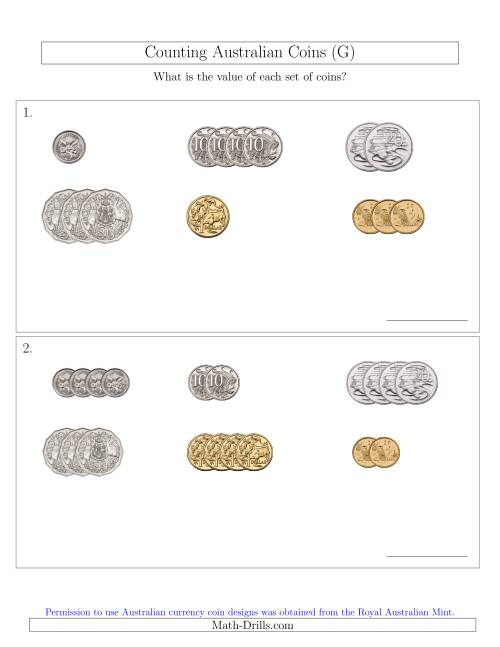 The Counting Small Collections of Australian Coins Sorted Version (G) Math Worksheet