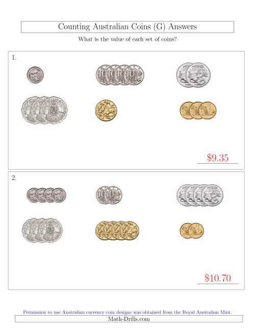 The Counting Small Collections of Australian Coins Sorted Version (G) Math Worksheet Page 2