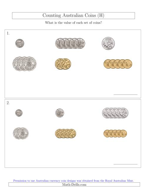 The Counting Small Collections of Australian Coins Sorted Version (H) Math Worksheet