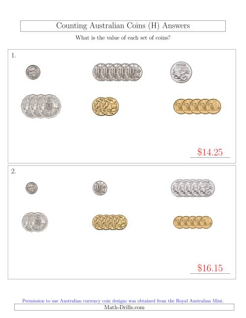 The Counting Small Collections of Australian Coins Sorted Version (H) Math Worksheet Page 2