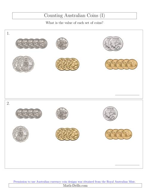 The Counting Small Collections of Australian Coins Sorted Version (I) Math Worksheet