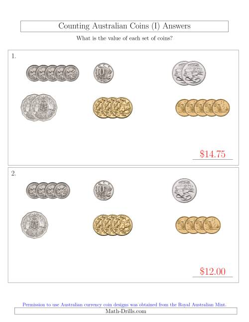The Counting Small Collections of Australian Coins Sorted Version (I) Math Worksheet Page 2