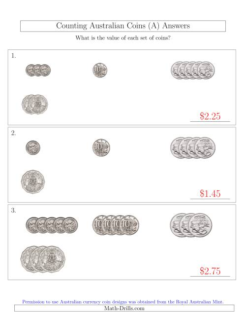The Counting Small Collections of Australian Coins (No Dollar Coins) Sorted Version (A) Math Worksheet Page 2