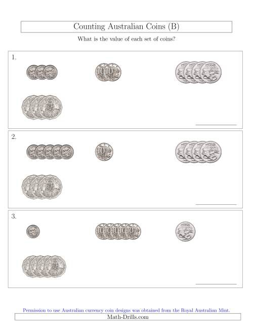 The Counting Small Collections of Australian Coins (No Dollar Coins) Sorted Version (B) Math Worksheet