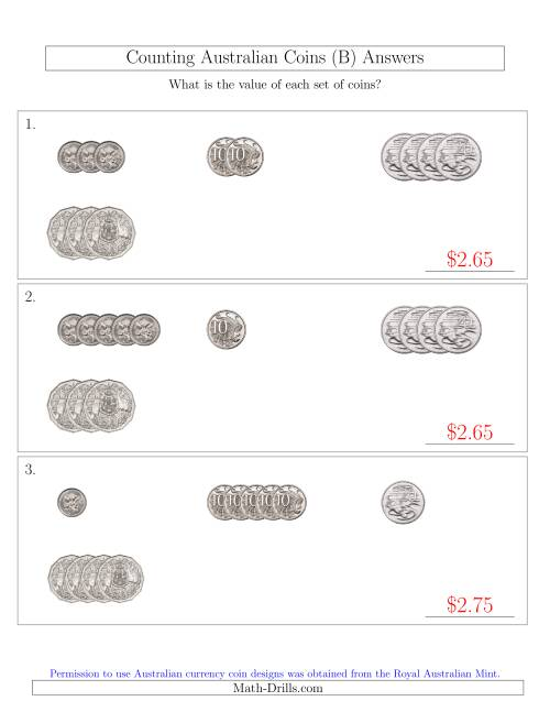 The Counting Small Collections of Australian Coins (No Dollar Coins) Sorted Version (B) Math Worksheet Page 2