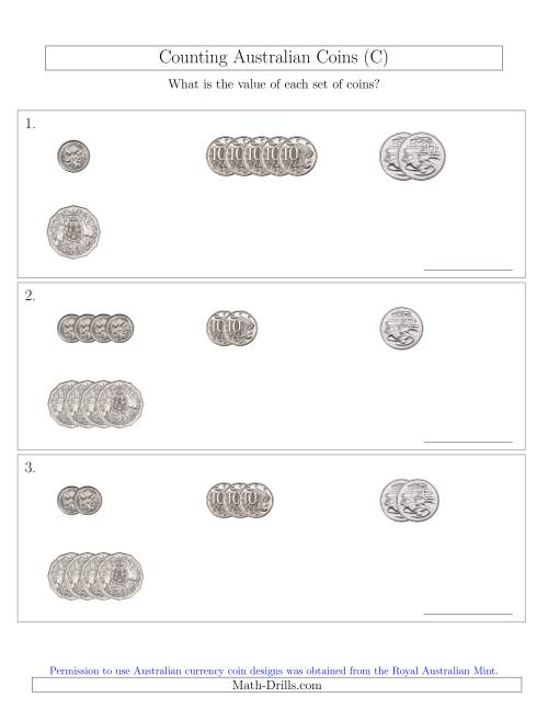 The Counting Small Collections of Australian Coins (No Dollar Coins) Sorted Version (C) Math Worksheet
