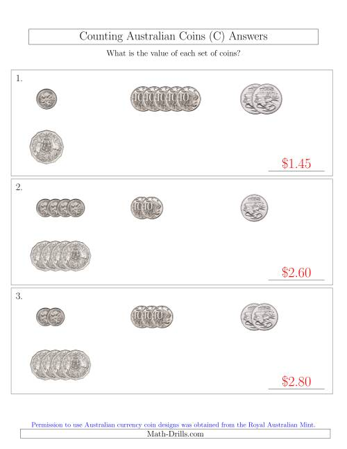 The Counting Small Collections of Australian Coins (No Dollar Coins) Sorted Version (C) Math Worksheet Page 2