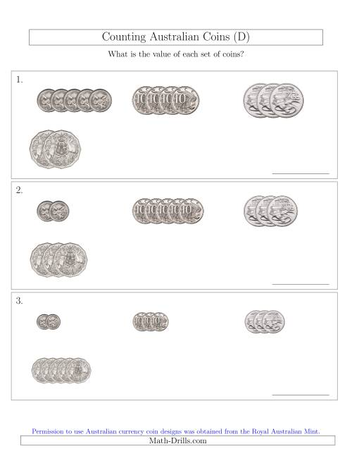 The Counting Small Collections of Australian Coins (No Dollar Coins) Sorted Version (D) Math Worksheet