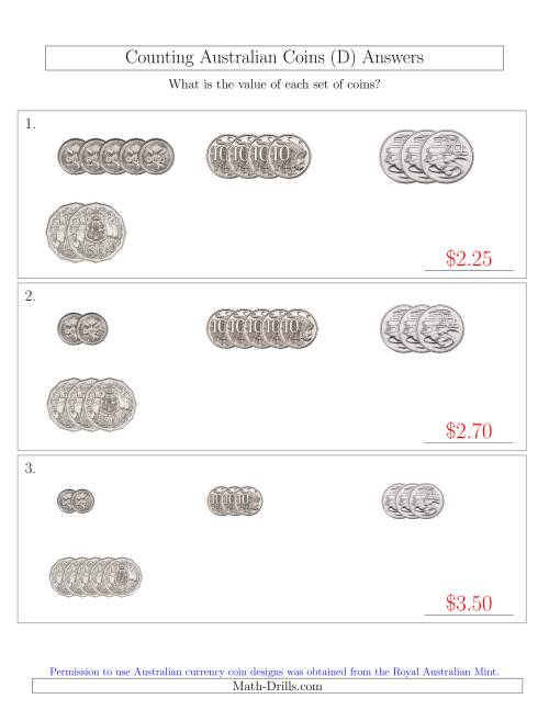 The Counting Small Collections of Australian Coins (No Dollar Coins) Sorted Version (D) Math Worksheet Page 2