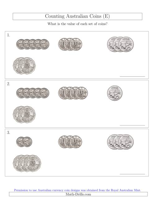 The Counting Small Collections of Australian Coins (No Dollar Coins) Sorted Version (E) Math Worksheet