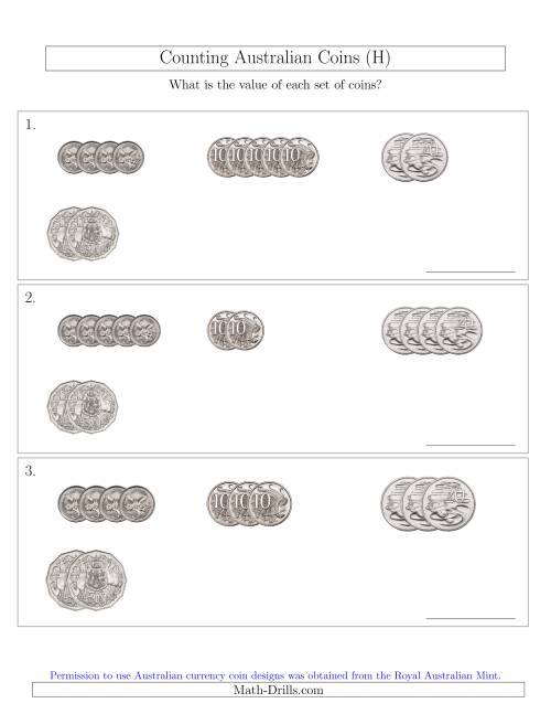 The Counting Small Collections of Australian Coins (No Dollar Coins) Sorted Version (H) Math Worksheet