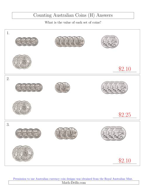 The Counting Small Collections of Australian Coins (No Dollar Coins) Sorted Version (H) Math Worksheet Page 2