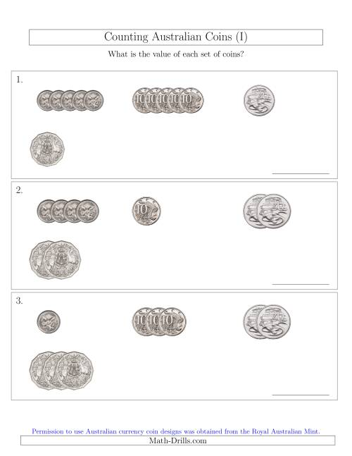 The Counting Small Collections of Australian Coins (No Dollar Coins) Sorted Version (I) Math Worksheet