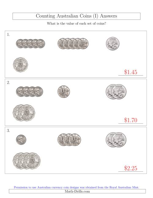The Counting Small Collections of Australian Coins (No Dollar Coins) Sorted Version (I) Math Worksheet Page 2