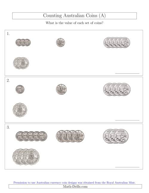 The Counting Small Collections of Australian Coins (No Dollar Coins) Sorted Version (All) Math Worksheet