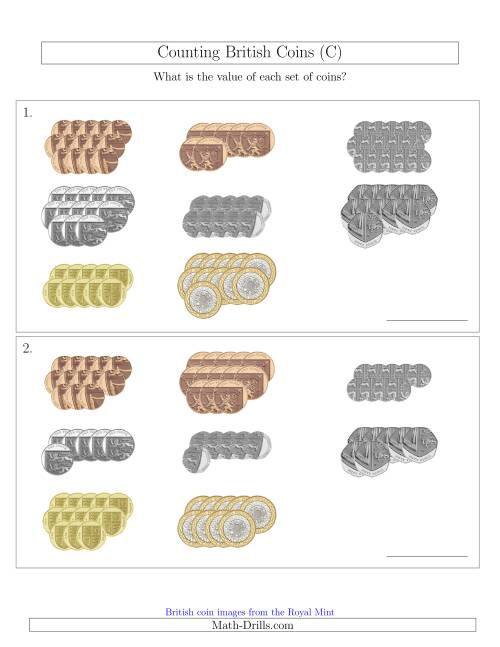 The Counting British Coins (C) Math Worksheet