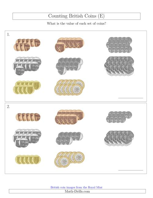 The Counting British Coins (E) Math Worksheet