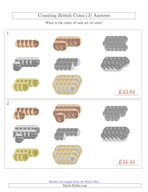 The Counting British Coins (J) Math Worksheet Page 2