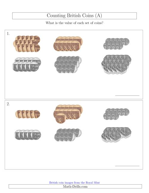 The Counting British Coins (No Pound Coins) (A) Math Worksheet