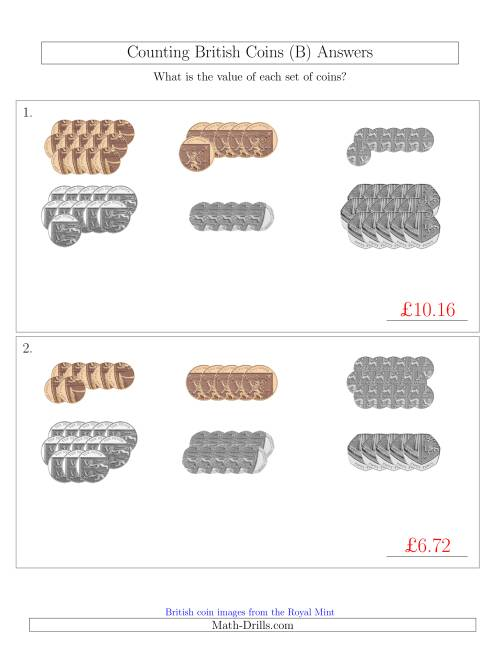 The Counting British Coins (No Pound Coins) (B) Math Worksheet Page 2