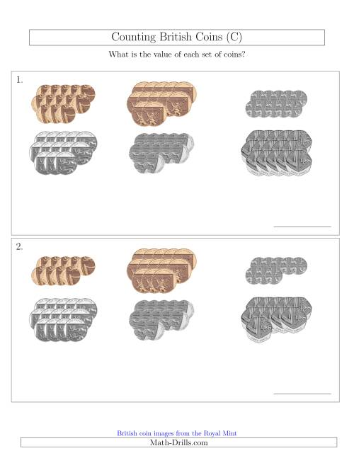 The Counting British Coins (No Pound Coins) (C) Math Worksheet
