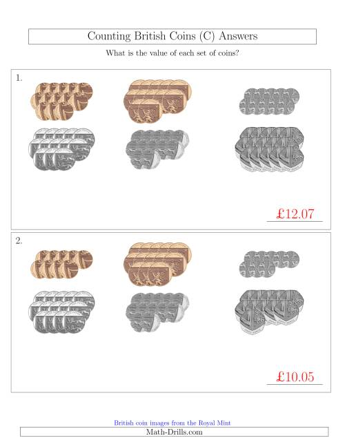 The Counting British Coins (No Pound Coins) (C) Math Worksheet Page 2