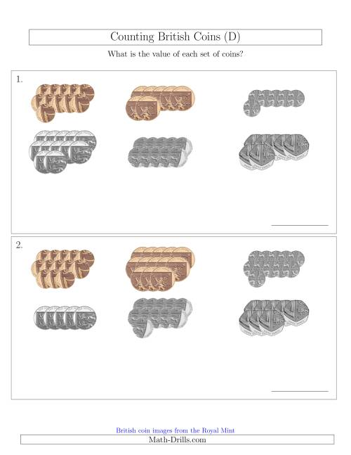 The Counting British Coins (No Pound Coins) (D) Math Worksheet