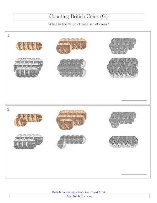 The Counting British Coins (No Pound Coins) (G) Math Worksheet