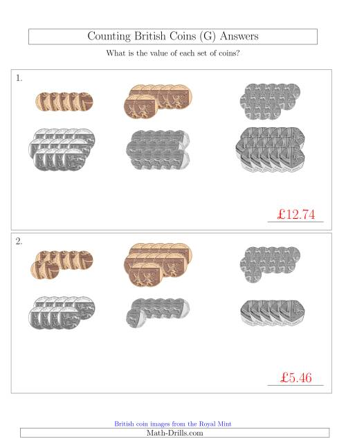The Counting British Coins (No Pound Coins) (G) Math Worksheet Page 2