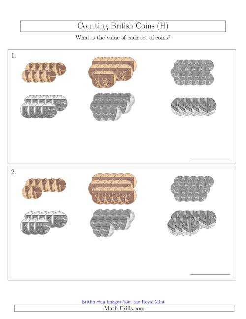 The Counting British Coins (No Pound Coins) (H) Math Worksheet