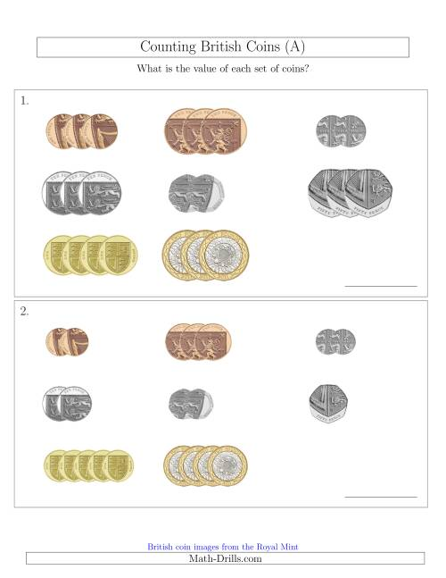 The Counting Small Collections of British Coins (A) Math Worksheet