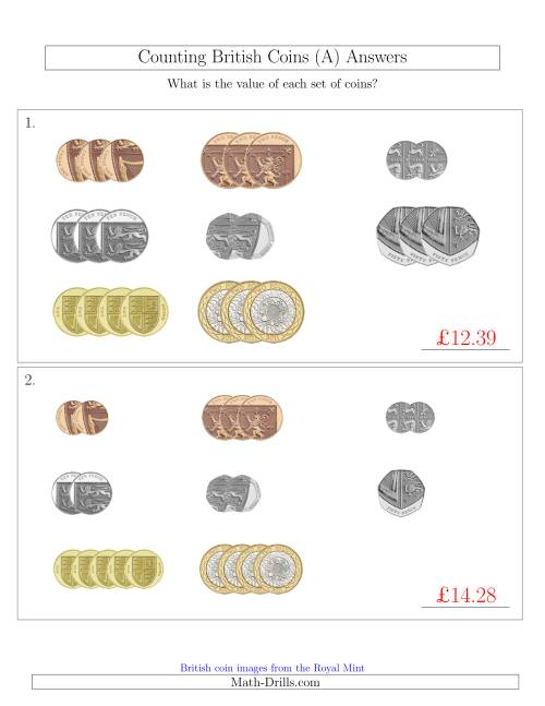 The Counting Small Collections of British Coins (A) Math Worksheet Page 2