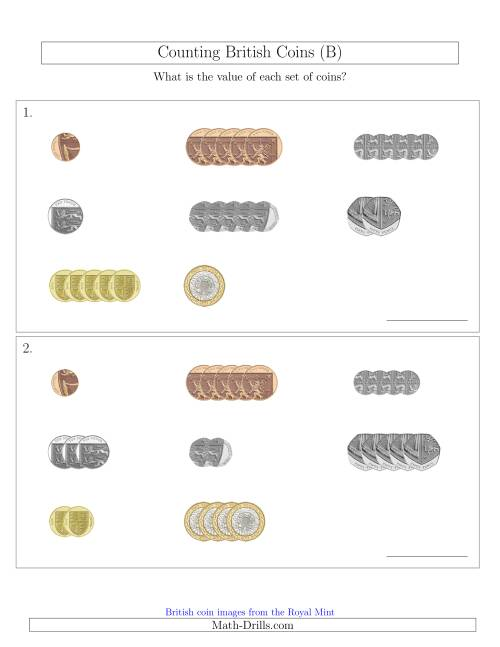 The Counting Small Collections of British Coins (B) Math Worksheet