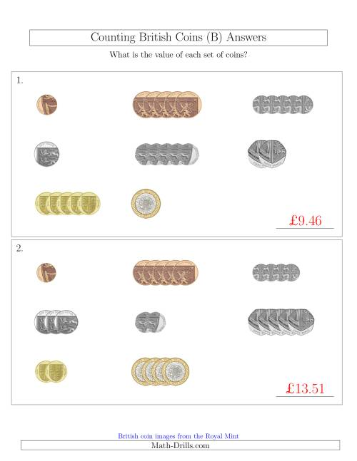 The Counting Small Collections of British Coins (B) Math Worksheet Page 2