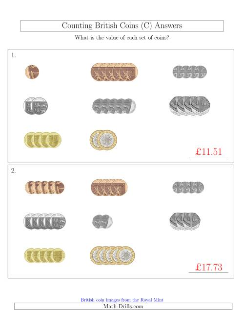 The Counting Small Collections of British Coins (C) Math Worksheet Page 2