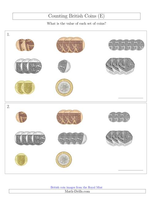 The Counting Small Collections of British Coins (E) Math Worksheet