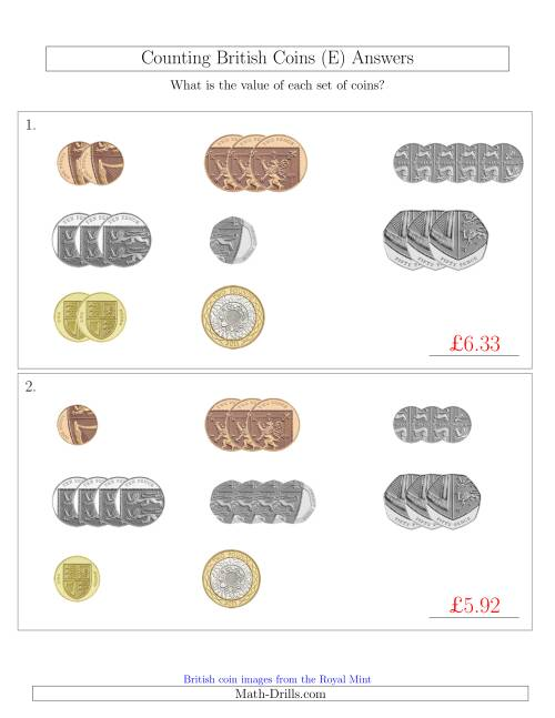 The Counting Small Collections of British Coins (E) Math Worksheet Page 2