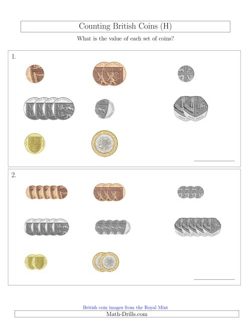 The Counting Small Collections of British Coins (H) Math Worksheet
