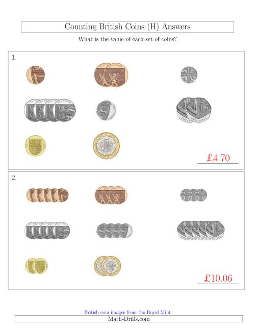 The Counting Small Collections of British Coins (H) Math Worksheet Page 2