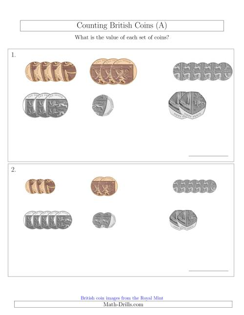 The Counting Small Collections of British Coins (No Pound Coins) (A) Math Worksheet